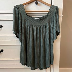 Lucky Brand Thin Striped Olive Square Neckline Top